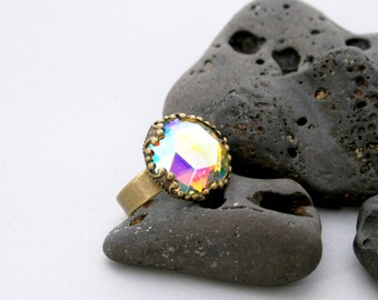 Mystery Mirror Rainbow Ring - Faceted AB Stone in Adjustable Ring Crown Setting