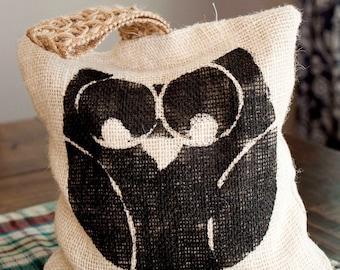 Handmade Burlap Doorstop-Owl Print