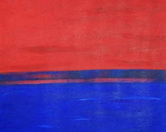 ORIGINAL Abstract Painting, Modern Style, Red Blue Colors, Large Painting, 30x30 by Kathleen