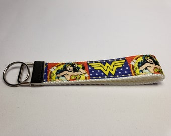 Key Fob Keychain made with Wonder Woman Ribbon White, Wonder Woman Wristlet Keychain, Nerdy Wristlet Keychain, Nerdy Gift, DC Comic Wristlet