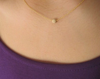 Dainty 14K Gold Filled Necklace with Stardust bead Gold Filled - pendant necklace - minimalist  - stardust necklace