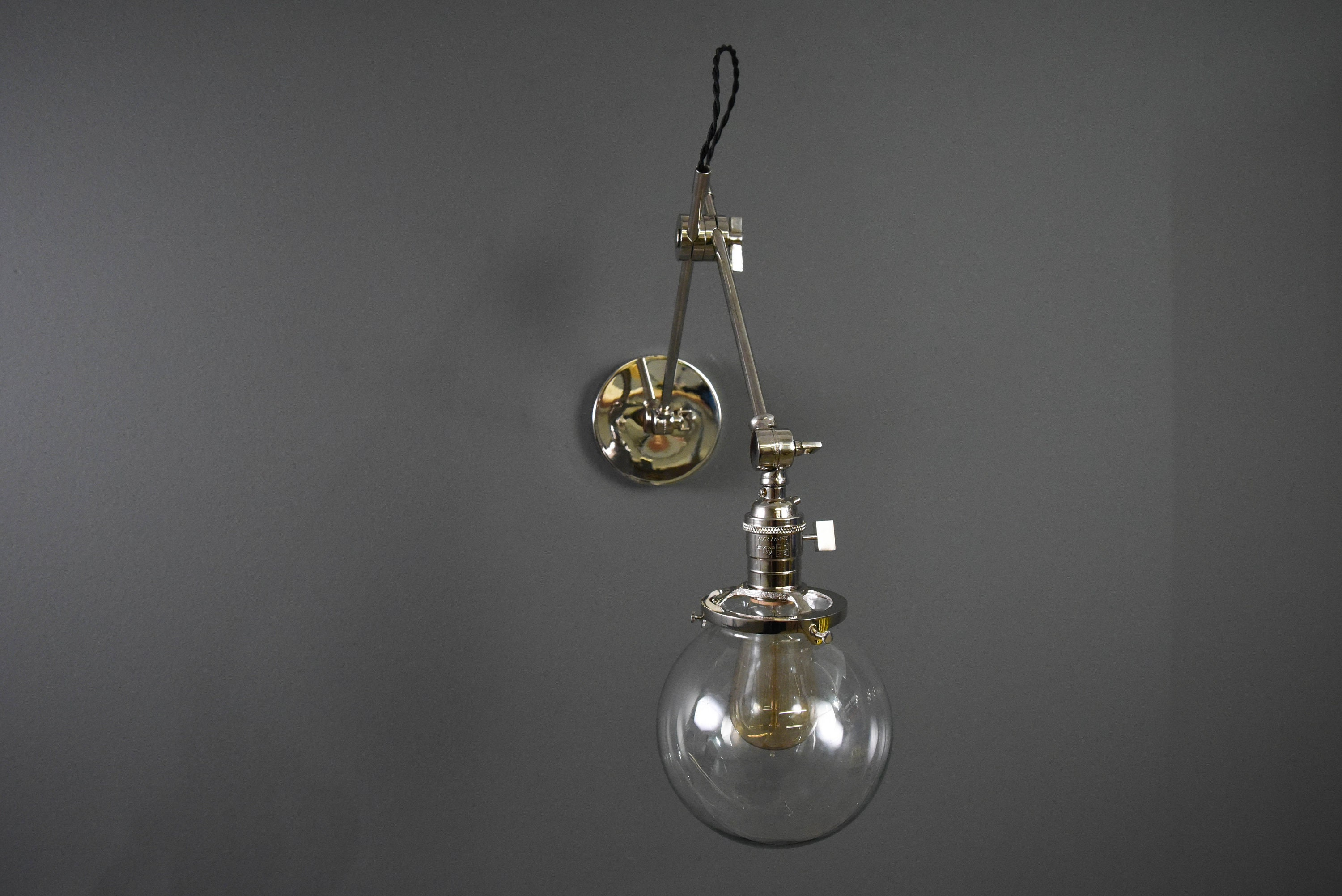 Gold Brass Articulating Adjustable Industrial Wall Lamp