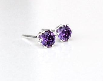 Amethyst Silver Stud Earrings, Sterling Silver Amethyst Post Earrings, February Birthstone, Gift for Her, Simple Amethyst Studs, Elementisle