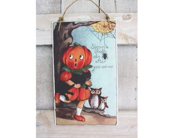 Vintage Halloween Pumpkin Costume Hanging Wood Sign and Wall Decor