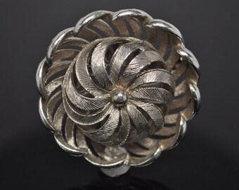 Vintage Silver Tone Textured 3D Floral Brooch