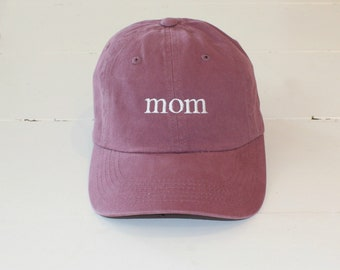 Mom Hat Mothers Day Gift, DAD Hat Fathers Day Gift, Low Profile Unstructured Pigment Dyed Hats, Pregnancy Announcement