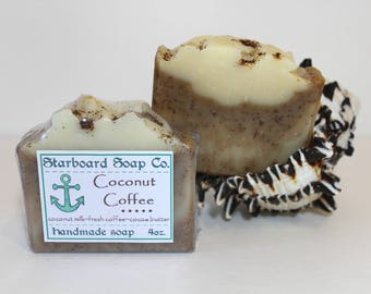 Coconut Coffee Handmade Soap with ground coffee coocnut milk and cocoa butter