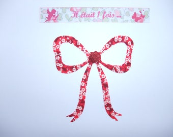 Applied fusible node liberty Mitsi valeria flex red glittery liberty fusible applique patch iron iron on bow