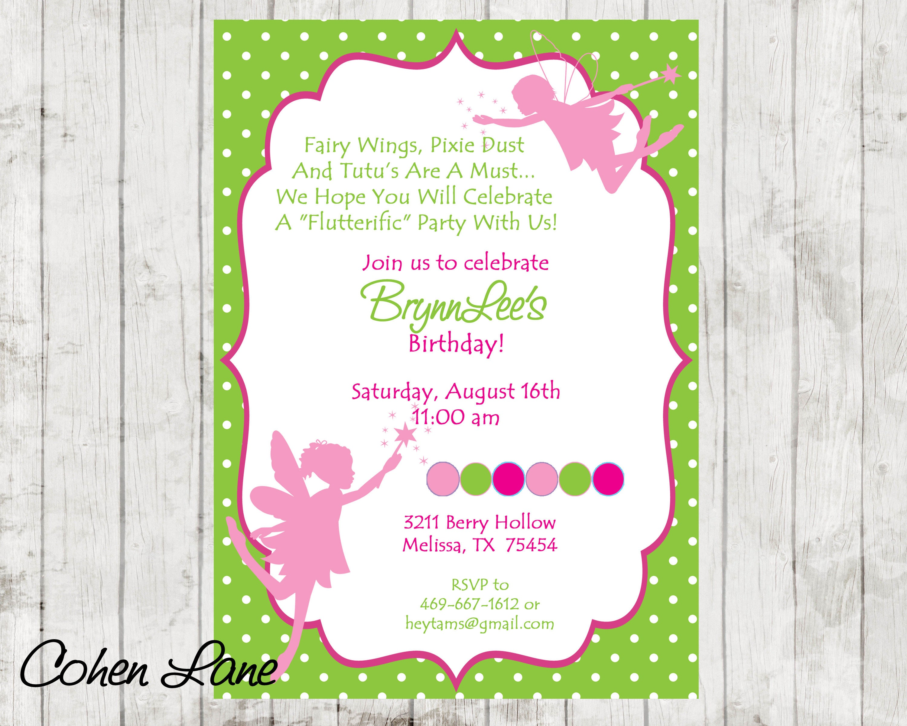 Fairy Invitation Fairy Birthday Invite Fairy Princess Invite