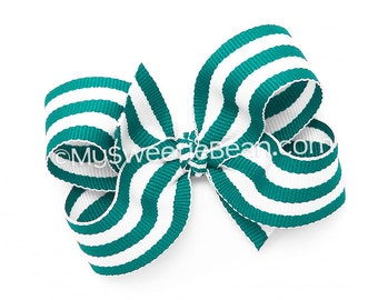 """Teal Striped Hair Bow, 3 inch Boutique Bow for Toddlers, Teal and White Cabana Stripes, 3"""" Preppy Hair Bow for Girls, Baby Toddler Bow"""