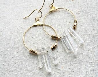 Crystal Earrings, Boho Hoop Earrings, Bohemian Earrings, Boho Hoops