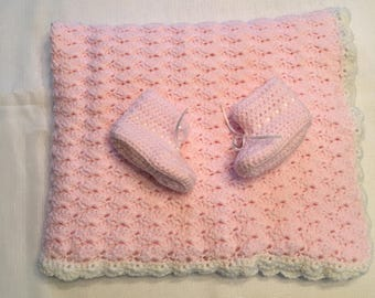 Handmade Pink Baby Blanket and Booties