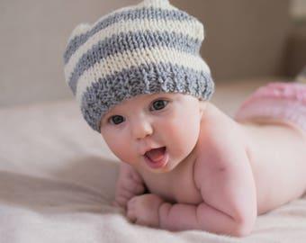 Hand knit striped baby set, 0-3 months newborn leg warmers newborn hat, baby yoga socks, baby leg warmers, newborn baby hat baby shower gift