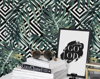 More Colours Tropical Wall Mural Removable Or Regular Wallpaper Material Monstera Leaves Pattern