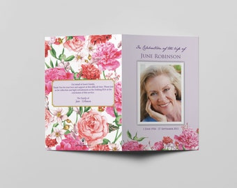 Customized Funeral Program Template A5 Booklet Lilac