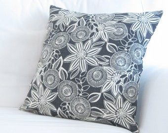 floral pillow, black white pillow, charcoal grey pillow, gray pillow, chair pillows, 20 inch decorative pillows, couch pillow, 18x18 inch