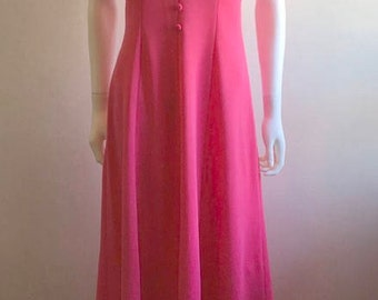 1970s Dress / Maxi / Halterneck /  Hot Pink / M