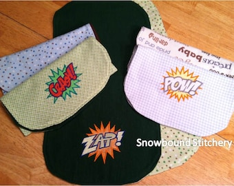Custom Super Hero Burp Clothes - Set of 6 -- 3 Custom Embroidered - 3 Coordinating Themed