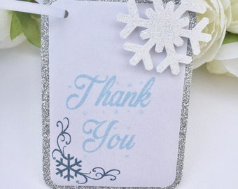 Set of 12 Snowflake glitter thank you tags, silver glitter thank you tags, winter wonderland thank you tags