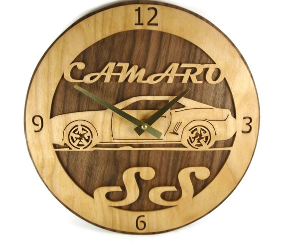 Chevy Camaro SS Wall Clock Art Handmade From Birch And Walnut Wood By KevsKrafts Quartz Clock Movement