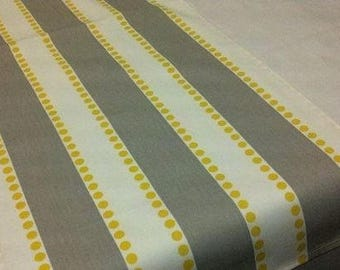 Stripe Runner  Grey On White With Yellow Dots Striped Table Runner Yellow  And Gray Rpst