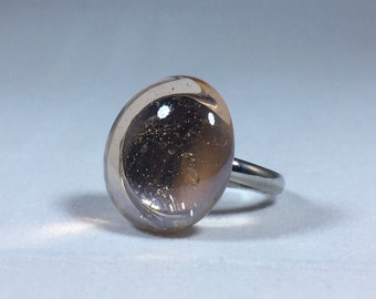 Champagne Glass Pebble Adjustable Ring