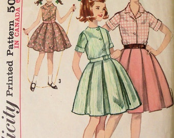 Vintage 1963 Sewing Pattern Simplicity 5294 Girls Skirt & Blouse
