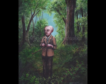 Dowsing, The Seeksorrow, Original Painting, Dark Forest, Fairy Tale, Folk Tale, Divination, The Seeker, The Search, Dark Art, Macabre Art