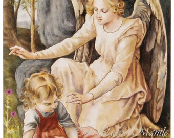 "Guardian Angel Protecting Little Girl From Snake ~ 3 5/8"" wide x 5 5/8"" tall Holy Card Print Picture from Italy - FREE SHIPPING"