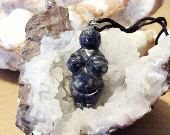 Sodalite Goddess / Venus Willendorf Pendant on cord, Fertility, Birth 14t452