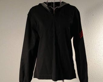 WWII 1940s Navy Airman Cracker Jack Aviation Pull Over Navy Blue White and Mint 8V2Fh4mcmt