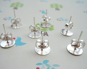 100 pieces Surgical Steel Stud Earnuts and 8mm Flat Pads, Silver Earring Posts with Back Stoppers