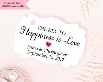 The key to happiness is love tags (30) - Bottle opener wedding favor tags - Bottle opener favor tags