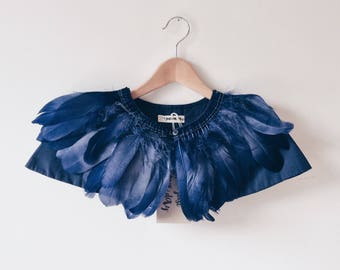 childs Feather cape, blue feather cape, wedding cape, bridesmaid cape, feather capelet, Lost boys costume, woodland party, kids Dress Up