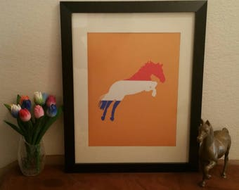 Horse Print - Dutch Horse - Netherlands Horse - Dutch Flag - Horse Art - Horse Wall Art