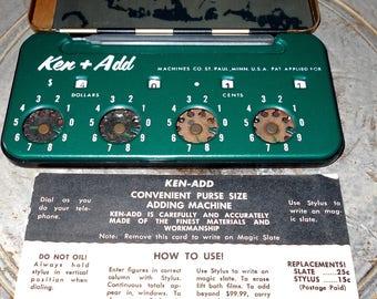 Ken-Add - Convenient Puse size adding machine - Ken-Add Machines Co. - St. Paul Minn - Vintage adding machine
