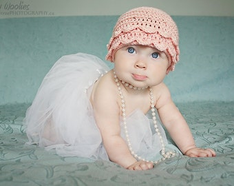 """Baby Crochet Hat Pattern: """"Vintage Pearls"""" Crochet Hat, Booties/Ballet Slippers, Pearls(0-3 mo, 6-9 mo & 12mo)"""