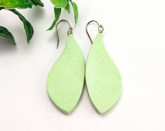 Lime green earrings, Autumn earrings, Clay earrings, Leaf earrings, Dangle earrings, Minimalist jewelry, Air dry clay, Not polymer clay