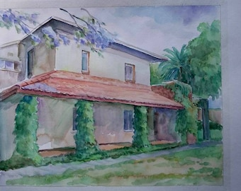 Custom hand painted house watercolor portrait painting