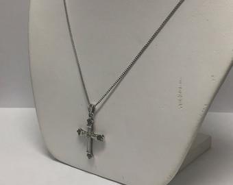 Vintage Sterling Silver Marcasite Cross Pendant Necklace Signed N/C