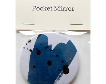 "Pocket Mirror by Fiona Hamilton - One Off, Paint, Pattern, Splash, Splodge, Foil, 2.25"", Metallic Blue, Purple, Black"