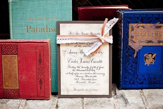 Vintage Glam Wedding Invitations: Calligraphy Wedding Invitations Vintage Glam Love No. 6