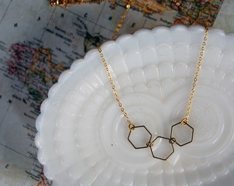 hex geo necklace- brass and gold plate- vintage modern