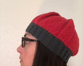 Kids Comfy Beanie - Red/Grey