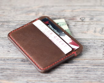Leather Wallet Leather Card Holder Leather Card Sleeve Wallet Horween Leather Chromexcel Slim Minimalist Card Carrier Card Wallet Gruffwood