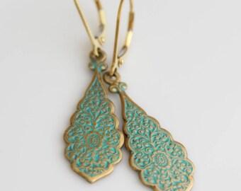 Dangling Turquoise Earrings, Art Nouveau Style Earrings, Gold Drop Earrings, 14k Gold Filled Ear Wire, Turquoise and Gold Teardrop Earrings
