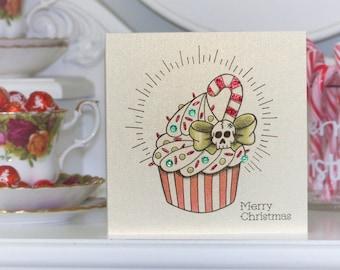 Candy Cane & Skull Cupcake Tattoo Alternative Christmas Card