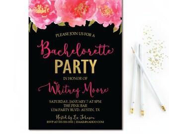 Floral Bachelorette Party Invitation - Black, Pink & Gold Bachelorette Invite - Watercolor Pink Florals - Hens Party Invitation - Printable