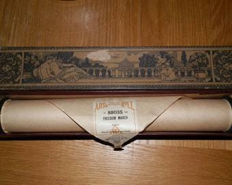 """Vintage Player Piano Roll-""""Feeedom March"""" played by Bishop and Purdy with Decorative box"""
