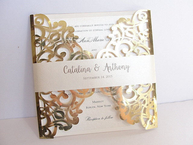 Parts Of Wedding Invitation: Laser Cut Wedding Invitation Gold Foil Wedding Invite Lace